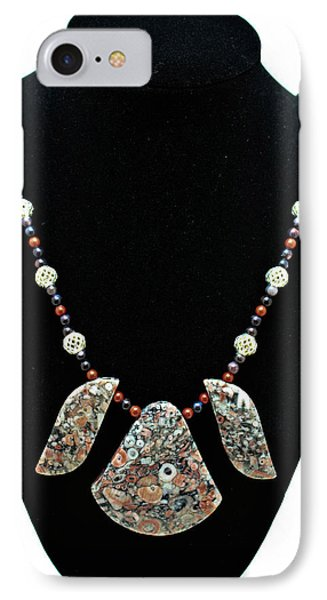 3521 Crinoid Fossil Jasper Necklace IPhone Case by Teresa Mucha