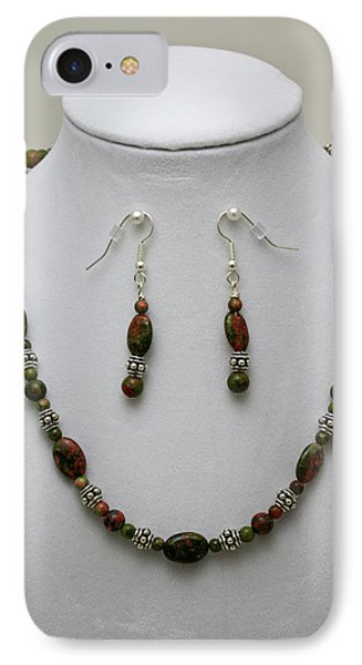 3525 Unakite Necklace And Earring Set Phone Case by Teresa Mucha