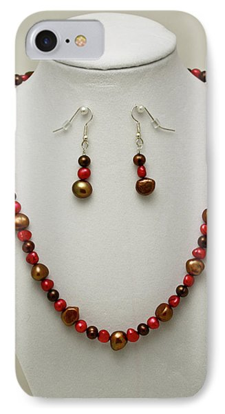 3536 Freshwater Pearl Necklace And Earring Set Phone Case by Teresa Mucha