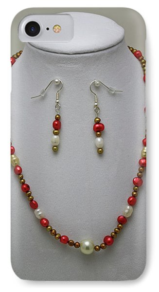 3539 Pearl Necklace And Earring Set IPhone Case