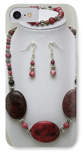 3544 Rhodonite Necklace Bracelet And Earring Set Phone Case by Teresa Mucha