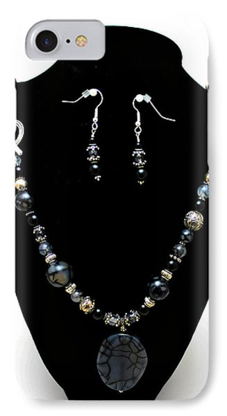 3545 Black Cracked Agate Necklace And Earring Set Phone Case by Teresa Mucha