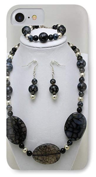 3548 Cracked Agate Necklace Bracelet And Earrings Set IPhone Case by Teresa Mucha