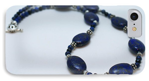 3553 Lapis Lazuli Necklace And Earrings Set IPhone Case by Teresa Mucha
