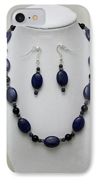 3555 Lapis Lazuli Necklace And Earring Set Phone Case by Teresa Mucha