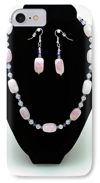3560 Rose Quartz Necklace And Earrings Set Phone Case by Teresa Mucha