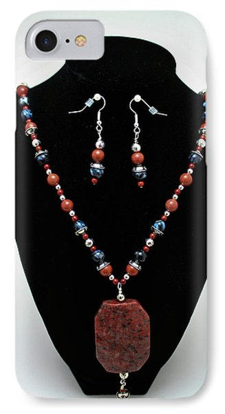 3578 Jasper And Agate Long Necklace And Earrings Set Phone Case by Teresa Mucha