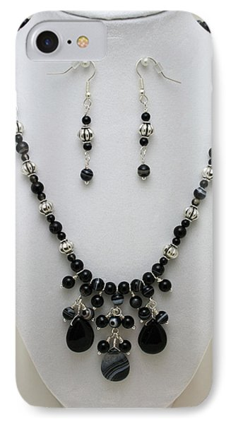 3601 Black Banded Onyx Necklace And Earrings Phone Case by Teresa Mucha
