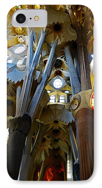Artistic Achitecture Within The Sagrada Familia In Barcelona IPhone Case by Richard Rosenshein