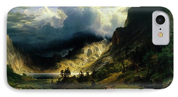 A Storm In The Rocky Mountains IPhone Case by Albert Bierstadt