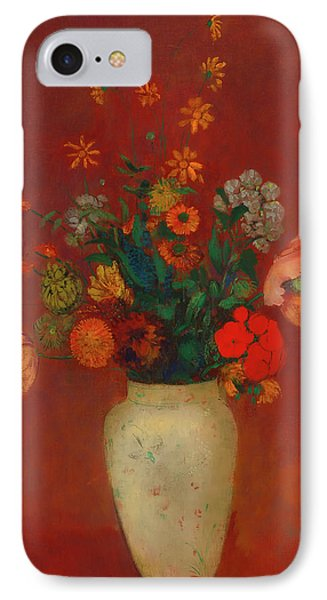IPhone Case featuring the painting Bouquet In A Chinese Vase by Odilon Redon