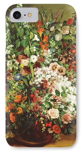 Bouquet Of Flowers In A Vase IPhone Case by Gustave Courbet