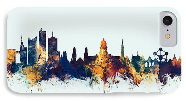 IPhone Case featuring the digital art Brussels Belgium Skyline by Michael Tompsett