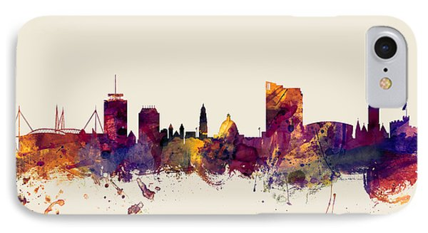 Cardiff Wales Skyline IPhone Case by Michael Tompsett