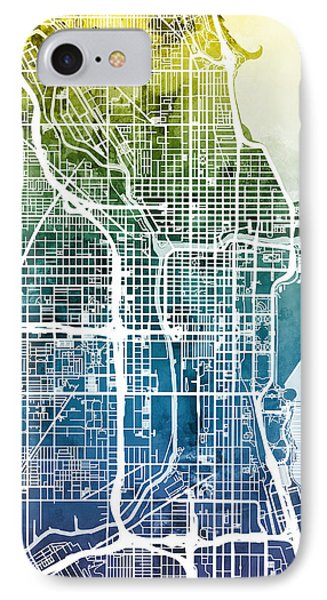 Chicago iPhone 7 Case - Chicago City Street Map by Michael Tompsett