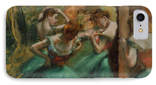 Dancers, Pink And Green IPhone Case by Edgar Degas