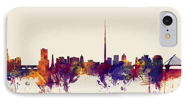 Dublin Ireland Skyline IPhone Case by Michael Tompsett
