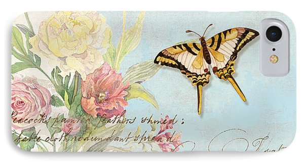 Fleurs De Pivoine - Watercolor W Butterflies In A French Vintage Wallpaper Style IPhone Case by Audrey Jeanne Roberts