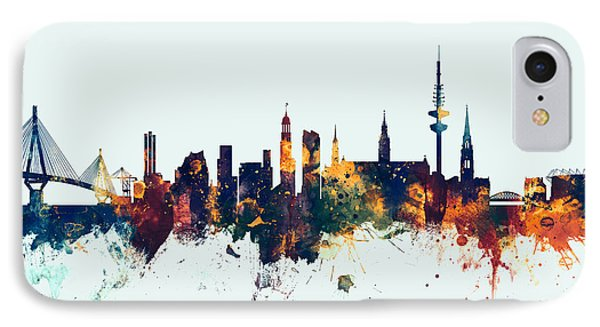 Hamburg Germany Skyline IPhone Case by Michael Tompsett