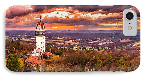 IPhone Case featuring the photograph Heublein Tower, Simsbury Connecticut, Cloudy Sunset by Petr Hejl