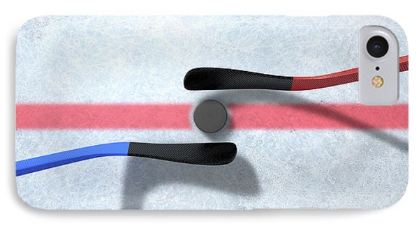 Ice Hockey Sticks And Puck IPhone Case