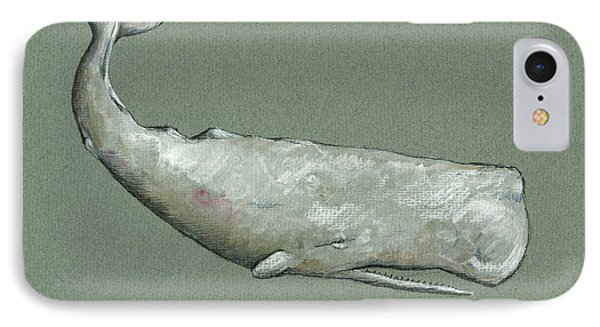 Moby Dick The White Sperm Whale  IPhone Case by Juan  Bosco