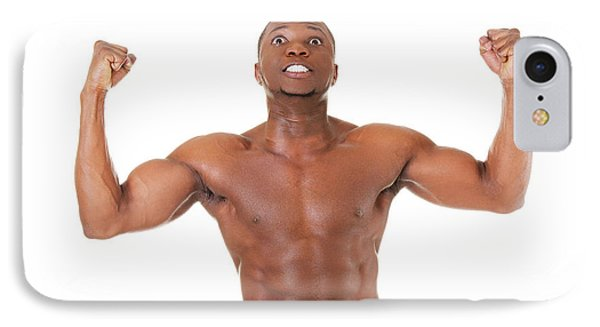 Muscular Black Man IPhone Case by Piotr Marcinski