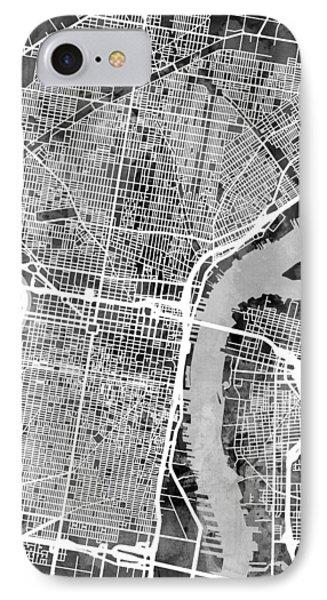 Philadelphia Pennsylvania Street Map Phone Case by Michael Tompsett