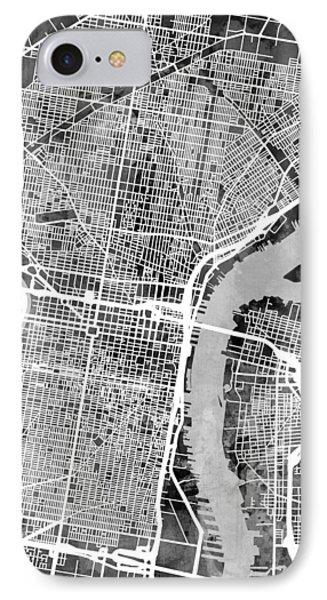 Philadelphia Pennsylvania Street Map IPhone Case by Michael Tompsett