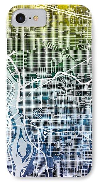 IPhone Case featuring the digital art Portland Oregon City Map by Michael Tompsett