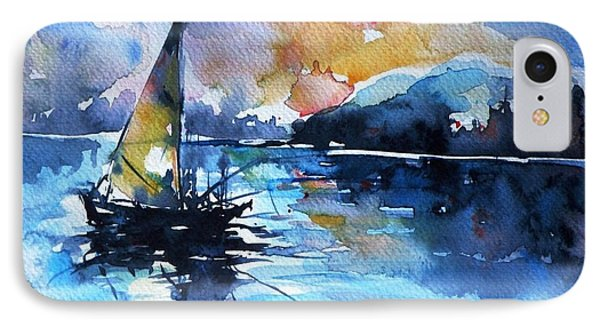 IPhone Case featuring the painting Sailboat by Kovacs Anna Brigitta