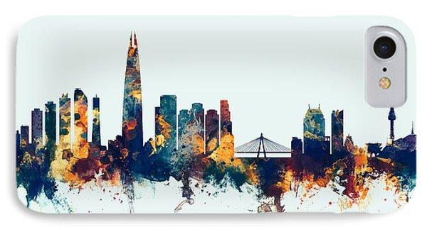 IPhone Case featuring the digital art Seoul Skyline South Korea by Michael Tompsett