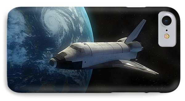Space Shuttle Backdropped Against Earth Phone Case by Carbon Lotus