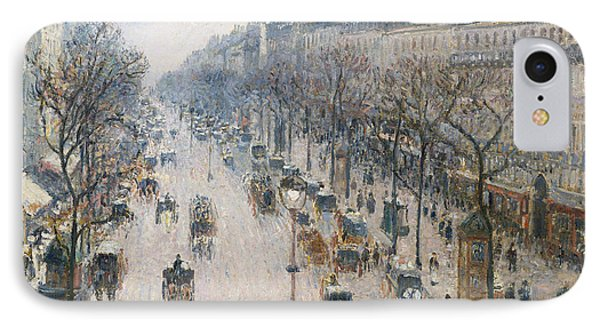 The Boulevard Montmartre On A Winter Morning IPhone Case by Camille Pissarro