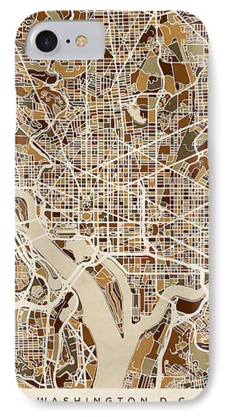 Washington Dc Street Map IPhone Case by Michael Tompsett