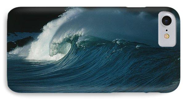 Wind-blown Wave Breaking In Hawaii IPhone Case by G. Brad Lewis
