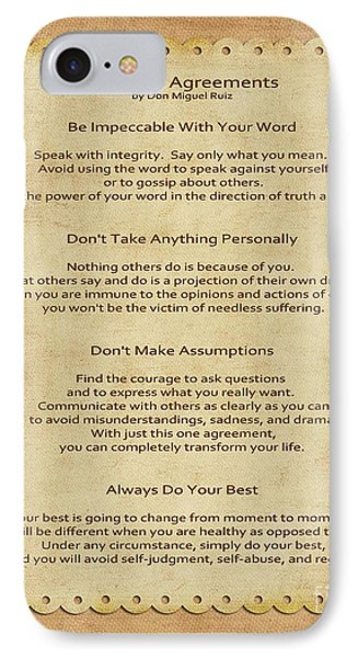 41- The Four Agreements IPhone Case by Joseph Keane