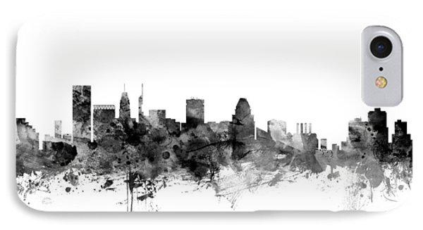 Baltimore Maryland Skyline IPhone Case by Michael Tompsett