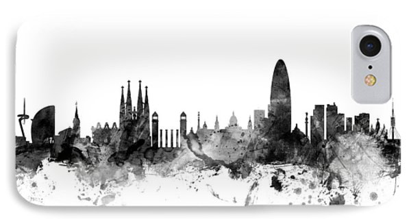 Barcelona Spain Skyline IPhone Case by Michael Tompsett