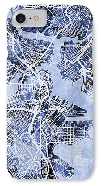 Boston Massachusetts Street Map IPhone 7 Case by Michael Tompsett