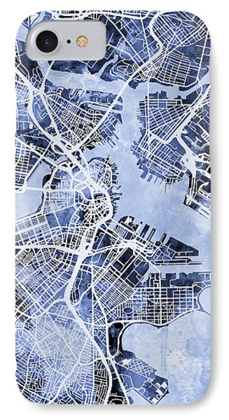 Boston Massachusetts Street Map IPhone Case by Michael Tompsett