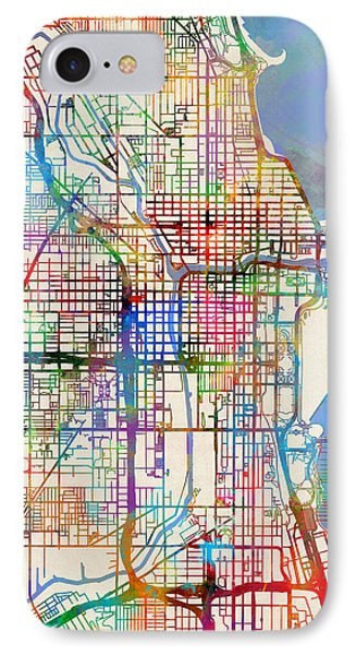 Chicago City Street Map IPhone 7 Case
