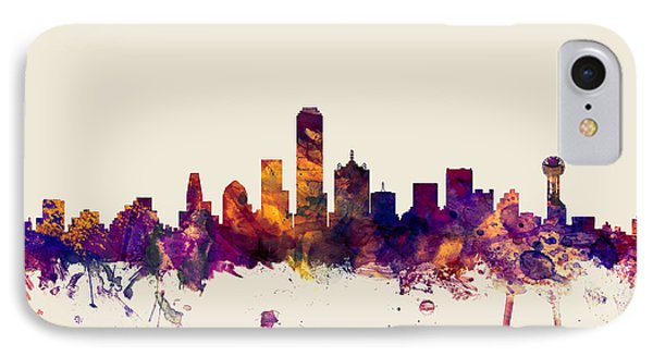 Dallas iPhone 7 Case - Dallas Texas Skyline by Michael Tompsett