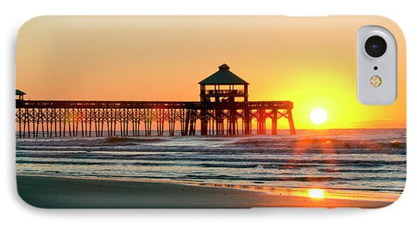 Folly Beach Pier Sunrise IPhone Case by Dustin K Ryan