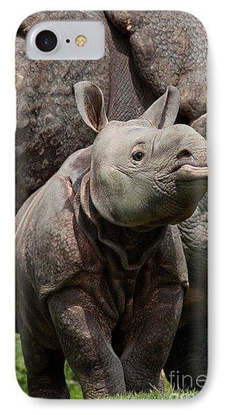 Indian Rhinoceros Rhinoceros Unicornis IPhone Case by Gerard Lacz