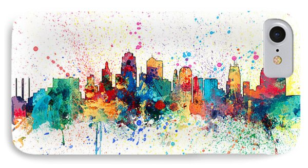 Kansas City Skyline Phone Case by Michael Tompsett