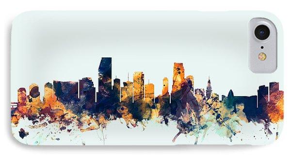 Miami Florida Skyline IPhone Case by Michael Tompsett