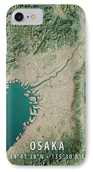 Osaka 3d Render Satellite View Topographic Map IPhone Case by Frank Ramspott