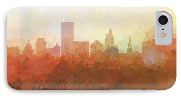 IPhone Case featuring the digital art Providence Rhode Island Skyline by Marlene Watson