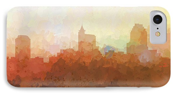 IPhone Case featuring the digital art Raleigh North Carolina Skyline by Marlene Watson